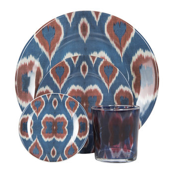Ikat Blue & Red Tableware