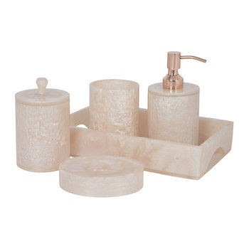 Marbled Resin Bathroom Accessory Set - Ivory
