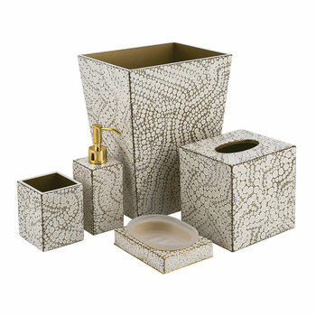 Proseco Bathroom Accessory Set - Oatmeal/Gold