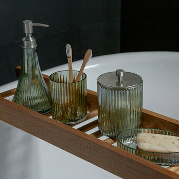 Ridged Glass Bathroom Accessory Set