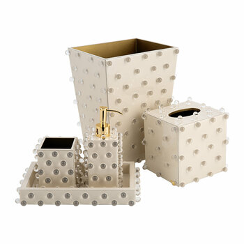 Roxy Bathroom Accessory Set - Ecru/Gold