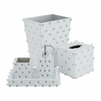 Roxy Bathroom Accessory Set - White/Silver