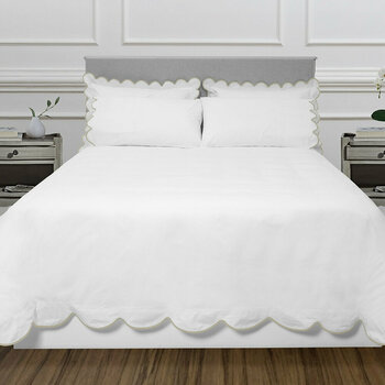 Scallop Bed Linen Collection - White/Taupe