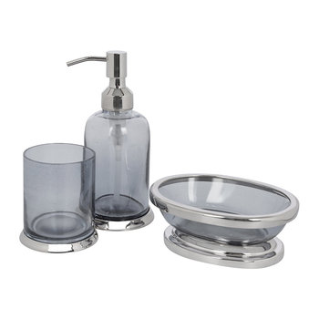 Smoked Glass Bathroom Accessory Set