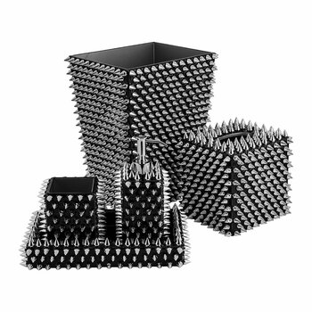Spikes Bathroom Accessory Set - Silver/Black