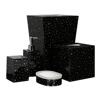 Stardust Bathroom Accessory Set - Black/Silver