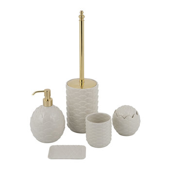 White Peacock Bathroom Accessory Set