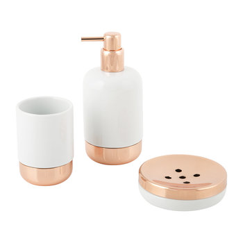 White Porcelain & Copper Bathroom Accessory Set