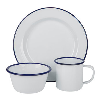 White with Blue Rim Tableware Collection