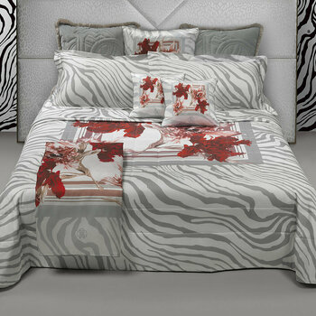 Zebra Bloom Gray Bed Linen