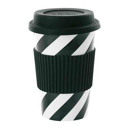Miss Étoile - Ceramic Travel Mug - Black Diagonal Stipes
