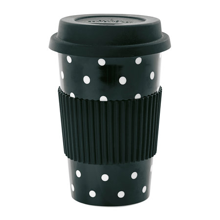 Miss Étoile - Ceramic Travel Mug - Black with White Dots