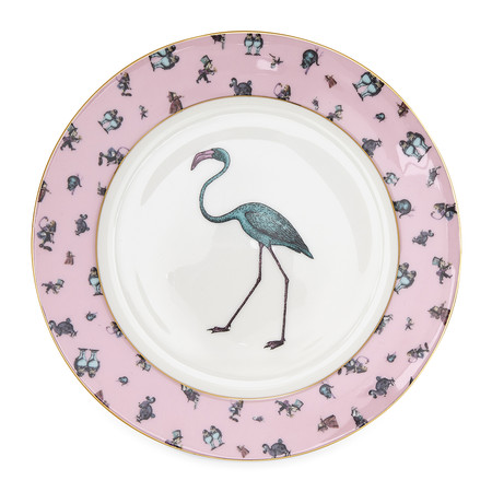 Mrs Moore's Vintage Store - Alice Flamingo Chintz Pink Plate with Gold Trim - 21cm