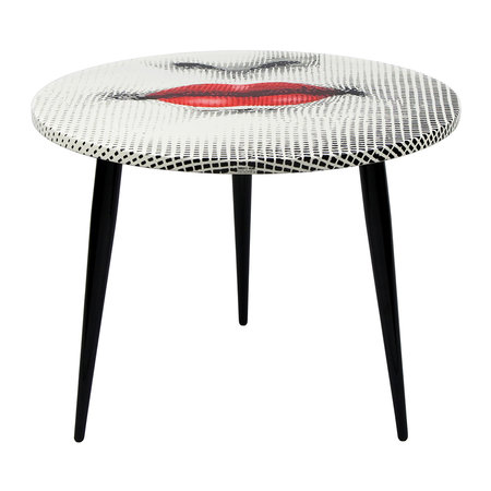 Fornasetti - Bocca Table with Wooden Base - 60cm Dia