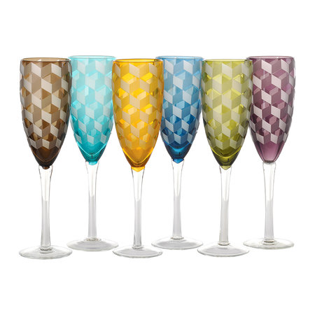 Pols Potten - Blocks Multicolor Champagne Glasses - Set of 6