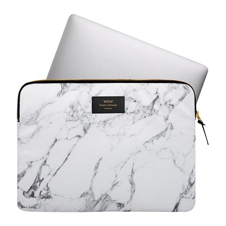 Wouf - Marble Laptop Case - White