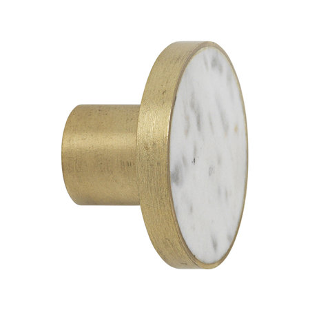 Ferm Living - Stone Hook - White Marble & Brass - Large