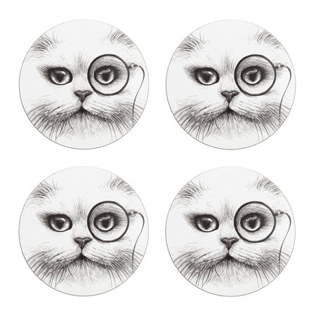 Rory Dobner - Cat Monocle Placemat - Round - Set of 4