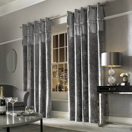 Kylie Minogue at Home - Veda Lined Eyelet Curtains - Silver - 229x229cm