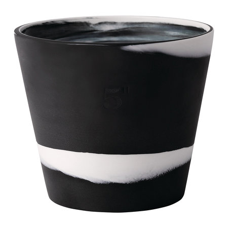 Wedgwood - Burlington Pot - White on Black - 12.5cm