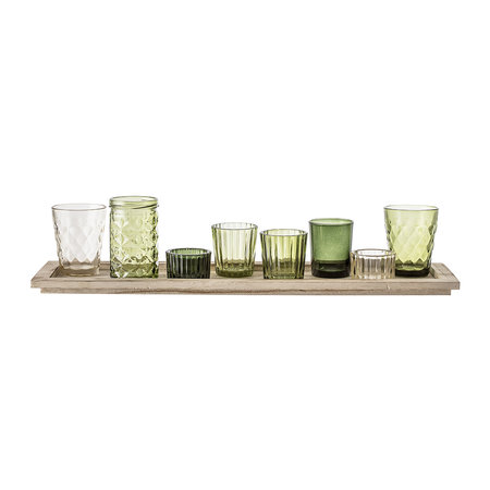Bloomingville - Assorted Green Glass Votives - Set of 9