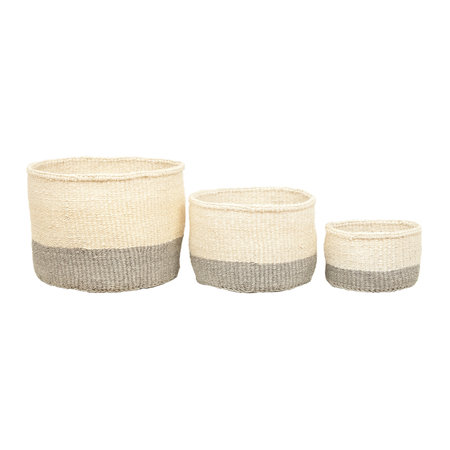 The Basket Room - Color Block Itale Hand Woven Basket - Gray - XS