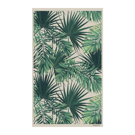 BEAUMONT - Jungle Vinyl Floor Mat - Beige/Green - 99x150cm