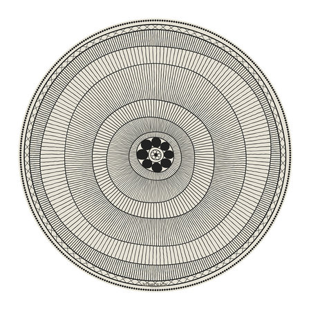 BEAUMONT - Cyclades Striped Rings Round Vinyl Placemat - Black/White