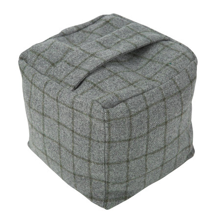 Buy Tweedmill Tweed Cube Door Stop Navy Silver Check Amara