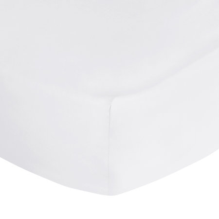 A by Amara - 500 Thread Count Sateen Fitted Sheet - White - Super King