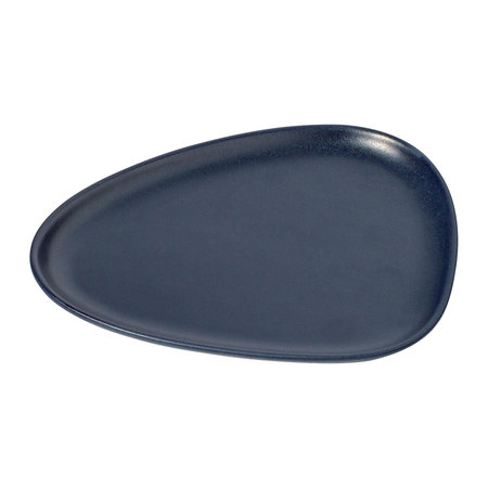 LIND DNA - Curve Stoneware Lunch Plate - Set of 2 - Navy