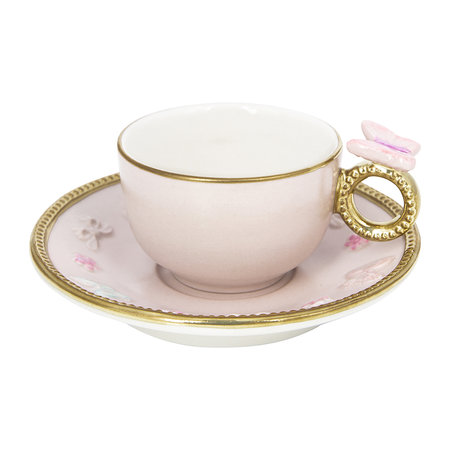 Villari - Butterfly Coffee Box - Set of 2 Cups & Round Saucers - Baby Rose