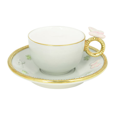 Villari - Butterfly Coffee Box - Set of 2 Cups & Round Saucers - Aquamarine