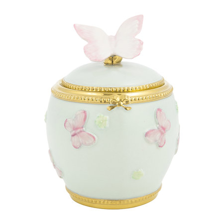 Villari - Butterfly Porcelain Sugar Bowl - Aquamarine/Gold
