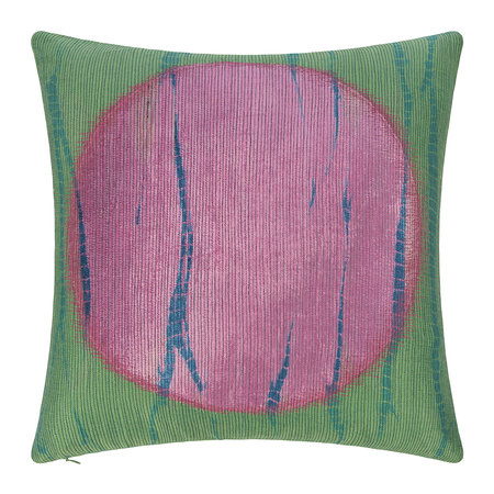 A by AMARA - Large Circle Print Cushion - Green/Pink - 45x45cm
