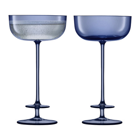 LSA International - Champagne Theatre Saucer - Set of 2 - Midnight Blue
