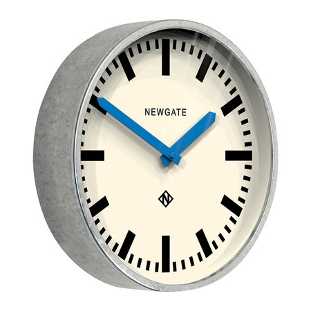 Newgate Clocks - The Luggage Galvanised Wall Clock - Blue Hands