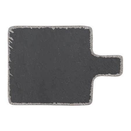 A by Amara - Black Slate Platter with Handle