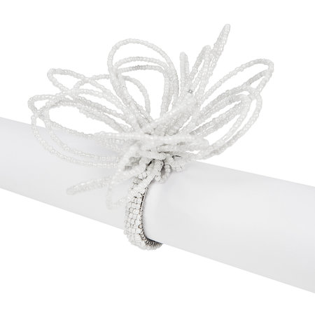 A by Amara - Beaded Flower Napkin Rings - Set of 4 - White