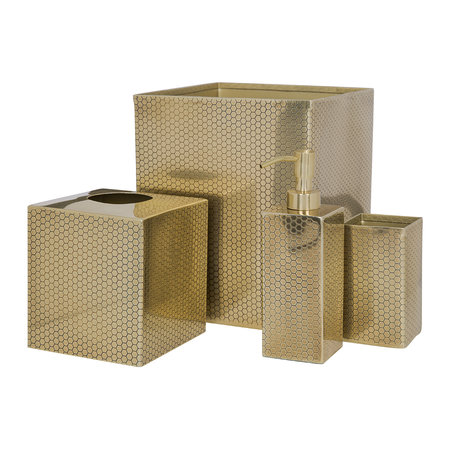 Luxe - Antique Gold Honeycomb Waste Bin