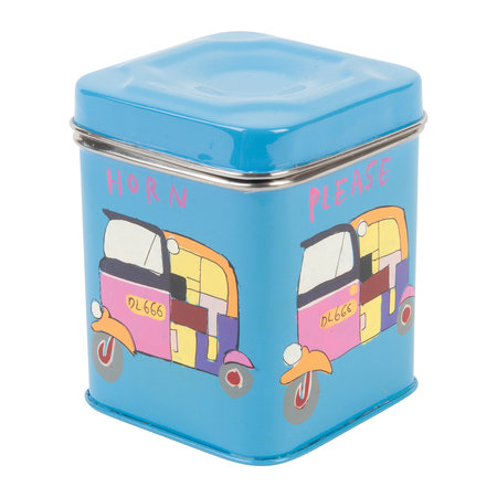 Ian Snow - Hand Painted Rickshaw Stainless Steel Canister - Blue