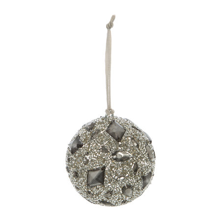 A by Amara - Beaded Bauble with Jewels - Set of 2 - Silver