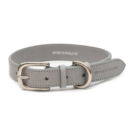 Mutts & Hounds - Leather Collar - Gray - Medium
