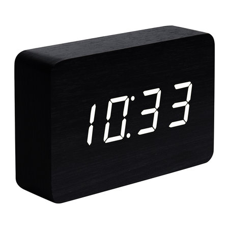 Gingko - Brick Click Clock - Black / White LED