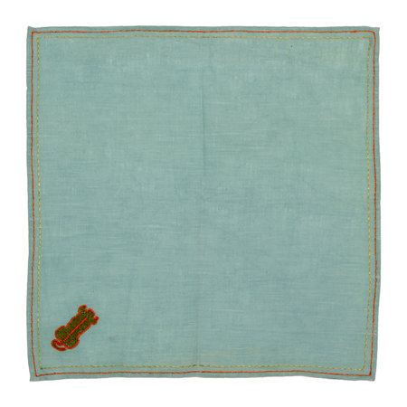 Lisa Corti - Cotton Napkin with Tiger Embroidery - Jade