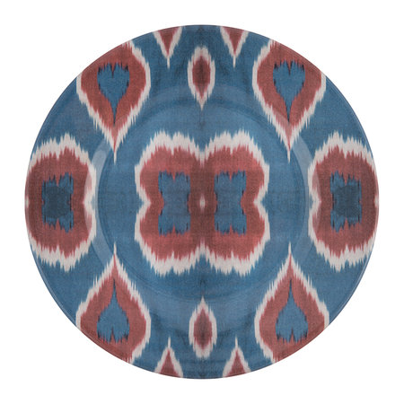 Les Ottomans - Ceramic Ikat Dessert Plate - Blue/Red