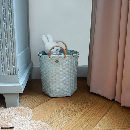 Handed By - Dimensional Round Basket with Rattan Handles - Eucalyptus - Medium