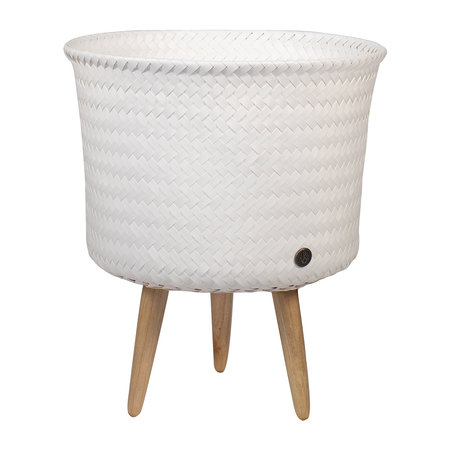 Handed By - Up Round Basket with Wooden Feet - White - Mid