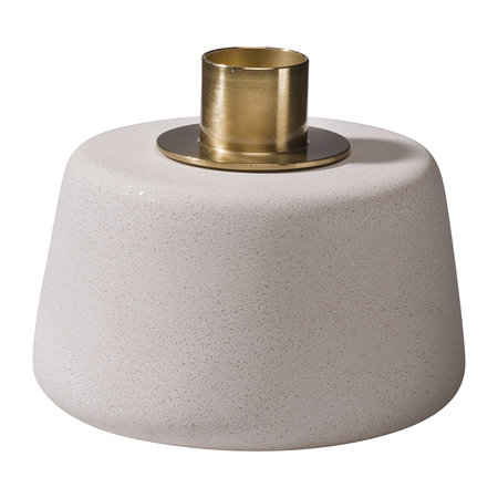 Moxon - Cone Candle Holder - Short - White/Brass