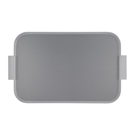 Kaymet - Ribbed Metal Tray with Handles - Pewter/Silver